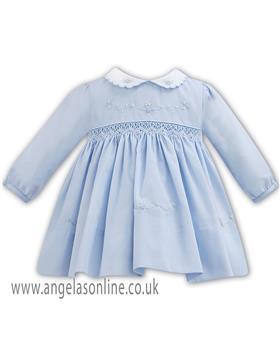 Sarah Louise baby girls winter dress 011272 BL-WH