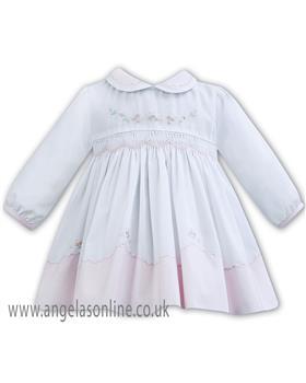 Sarah Louise baby girls winter dress 011275 PK-WH