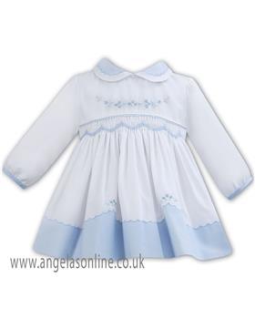 Sarah Louise baby girls winter dress 011275 BL-WH