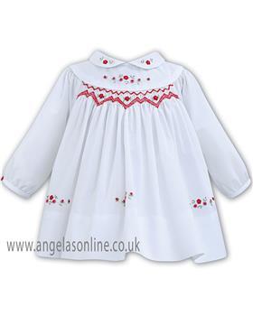Sarah Louise Girls Winter Dress 011262-18 WH/RD