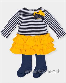 Tutto Piccolo girls dress & tights 5294-18 Mustard