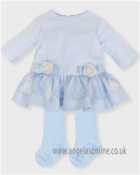 Tutto Piccolo girls dress & tights 5440-18 blue