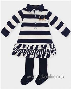 Tutto Piccolo Girls Striped Dress & Tights 5234-18 NV
