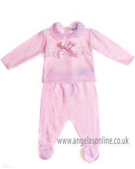 Sardon baby girls knitted jumper & footsie VE-221 pink Pink