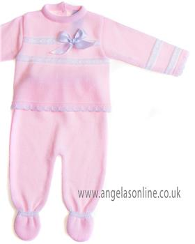 Sardon baby girls knitted jumper & footsie RF-830 Pink