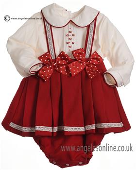 Pretty Originals Girls Blouse, Skirt & Braces MT00827E-18 RD/CR