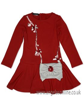 Kate Mack Girls  Red Hand Bag Dress 540HM-18