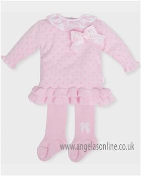 Tutto Piccolo Girls Pink Knitted Dress & Tights 5202