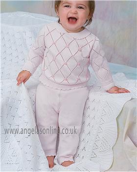 Dani baby girls knitted jumper & legging D09257 pink