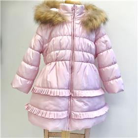 Bufi girls winter fur hooded coat B10733-18 Pink