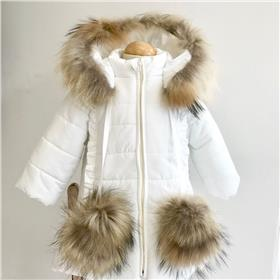 Bufi girls fur hood & pom pom coat B10754-18 Cream