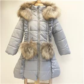 Bufi girls fur hood & pom pom coat B10754-18 Grey