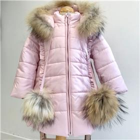 Bufi girls fur hood & pom pom coat B10754-18 Pink