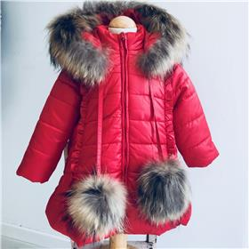 Bufi girls fur hood & pom pom coat B10754-18 Red