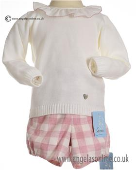 Granlei Girls Jumper & Checked Short 2-1484-85-18 CR/DUSKY