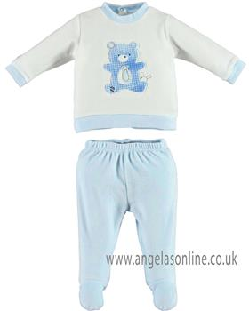 I Do baby boys two piece romper suit with feet V230 Cream