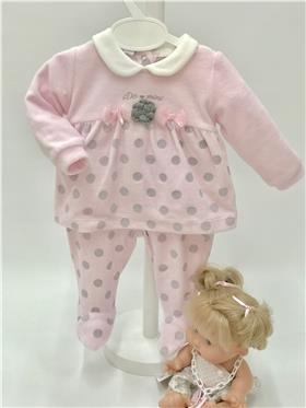 I Do baby girls two piece romper suit with feet V436 Pink
