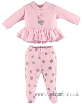 I DO Girls Velour Two Piece V439-18 PK