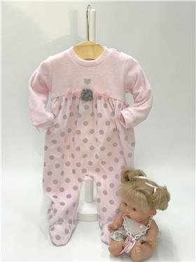 I Do baby girls two piece romper suit with feet V444 Pink