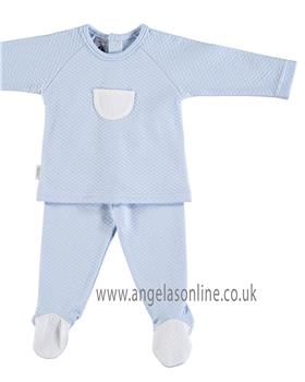 Babidu Baby Boys Quilted Two Piece 58190-18 BL