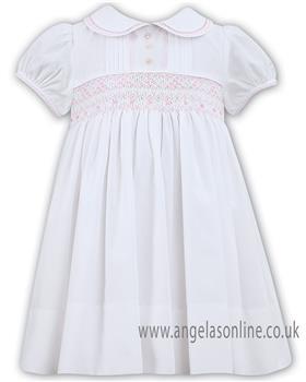 Sarah Louise girls dress 011446-19 Wh/Pk