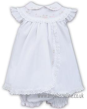 Sarah Louise girls dress & pant 011457-19 Wh/Pk
