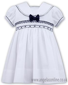 Sarah Louise girls dress 011504-19 Wh/Nv