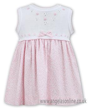 Sarah Louise girls dress 011553-19 Wh/Pk