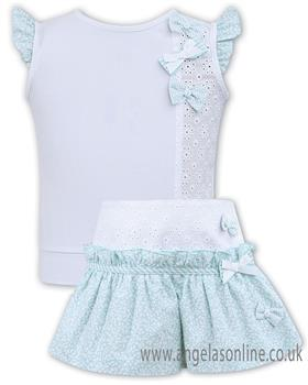 Sarah Louise girls top & skort set 011560-011563-19 Wh/Mint