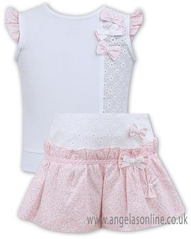 Sarah Louise girls top & short set 011560-011561-19 Wh/Pk