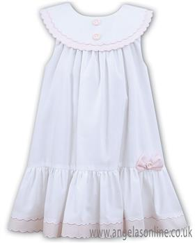 Sarah Louise girls dress 011572-19 Wh/Pk