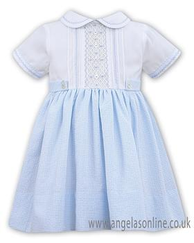 Sarah Louise girls dress 011516-19 Wh/Bl