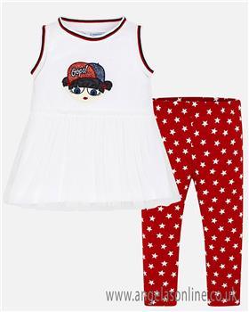 Mayoral girls legging set 3708-19 Red