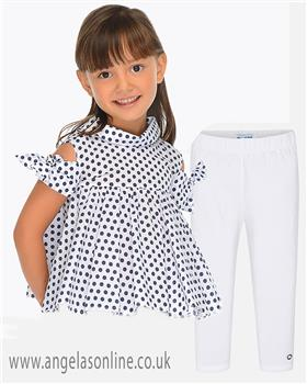 Mayoral girls top & legging set 3108-748-19 Ny/Wh