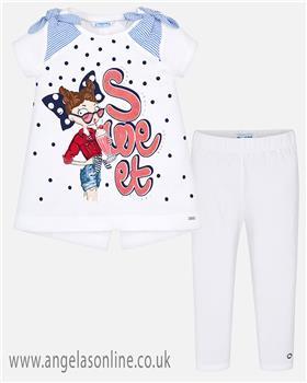 Mayoral girls top & legging set 3005-748-19 Rd/Wh