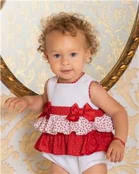 Dolce Petit Girls Ruffled Bubble 25-2008-3-19 RED