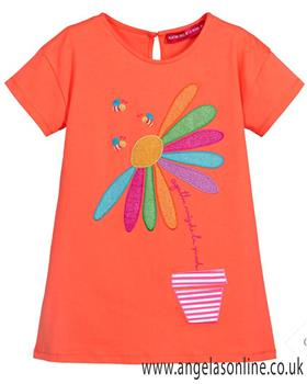 Agatha Ruiz girls daisy dress 7VE3159-19 Coral