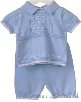 Bluesbaby boys 2 piece knitted set RR0062-19 Bl/Wh