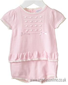Bluesbaby girls knit romper RR0072-19 Pk/Wh