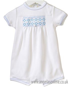 Bluesbaby boys interlock romper RR0143-19 Wh/Bl