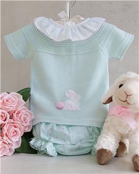 Granlei baby girls short sleeve rabbit set 1-245-19 Mint