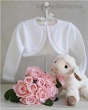 White & Pink Granlei Baby Girl Bolero Cardigan 1-335-18
