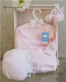 Macilusion baby girls knit jumper pant & bootee 7230-19 Pink