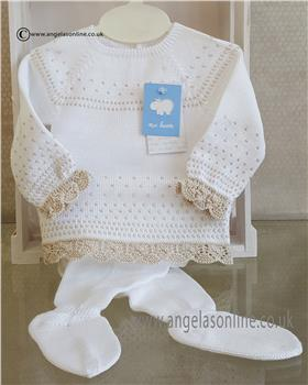 Macilusion baby girls jumper & footsie 7203-19 White