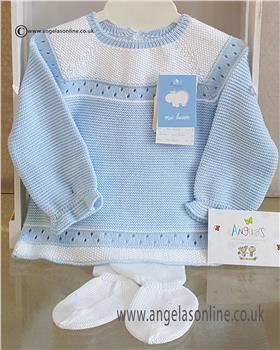 Macilusion baby boys knitted jumper & footsie 7201-19 Blue