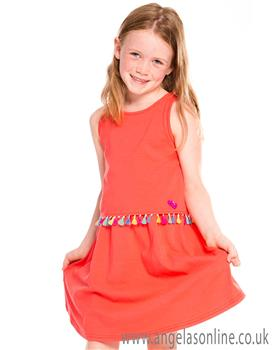 Deux par Deux girls dress A30L95 orange