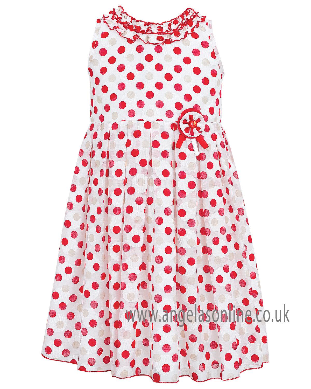 Sale Reduced Sarah Louise Girls Polka Dot Summer Dress 9335.