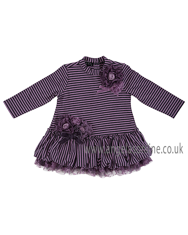 Kate Mack Baby/Toddler Girls Stripe Dress with Rosettes ...